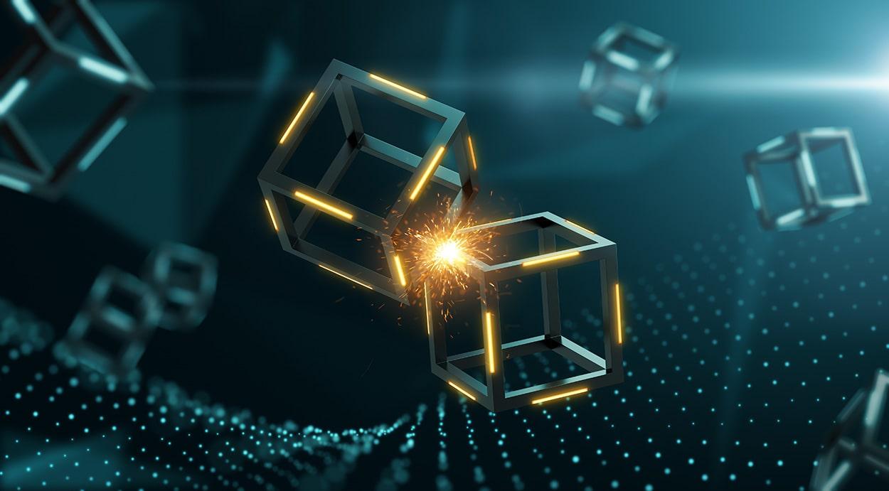 two blocks colliding on a blockchain